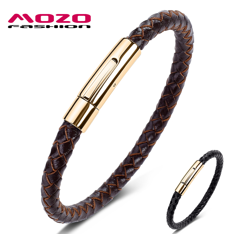 Fashion HOT Sale Classic Men Charm Bracelets Brown Genuine Leather Rope Braided Bracelet Simple Style Women Jewelry 601