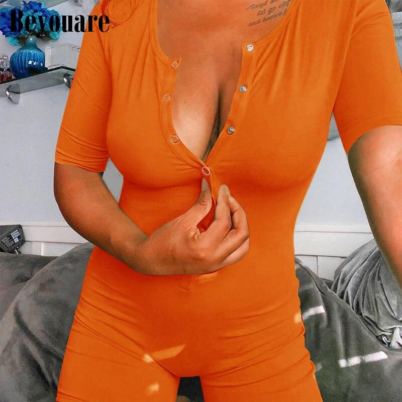 Beyouare Sexy Women Short Sleeve Playsuit Summer Slim Skinny Streetwear Solid Romper Casual Elegant Button Club Female Bodysuit
