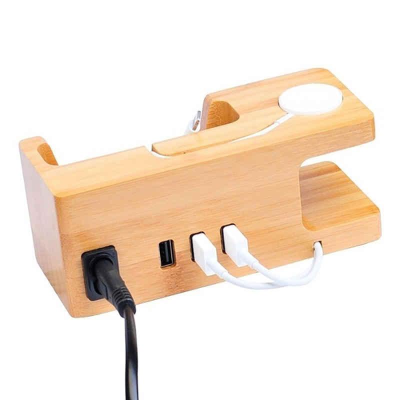 AAY-3-Port usb充電器アップル & 電話主催者は、クレードルホルダー、15ワット3Aデスクトップ竹木充電ステーションiwa