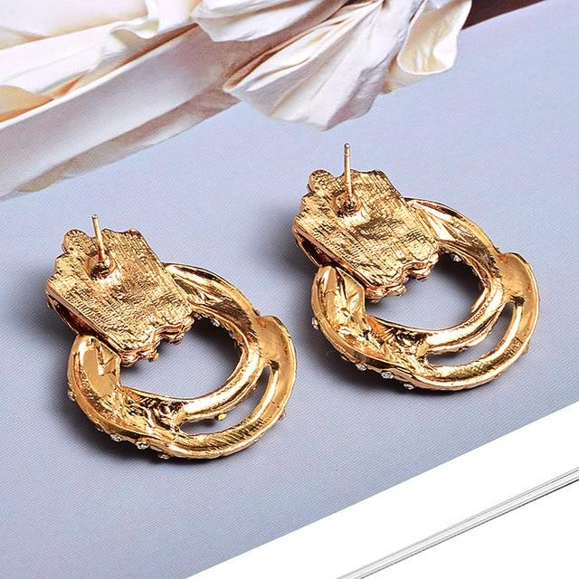 Irregular Metal Gold Rhinestone Dangle Drop Crystal Earrings 2