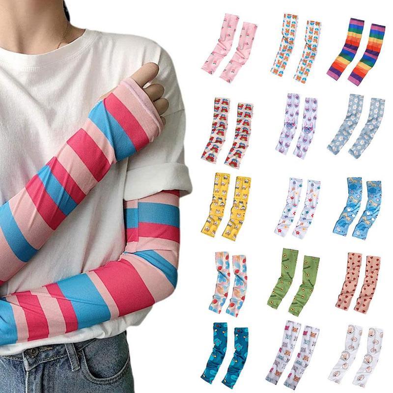 Korea Ins Fashion Nova Woman Arm Gloves Female Douille Manga Tattoo Ice Sleeve Girl Summer Thin Anti-mosquito Sunscreen Bands