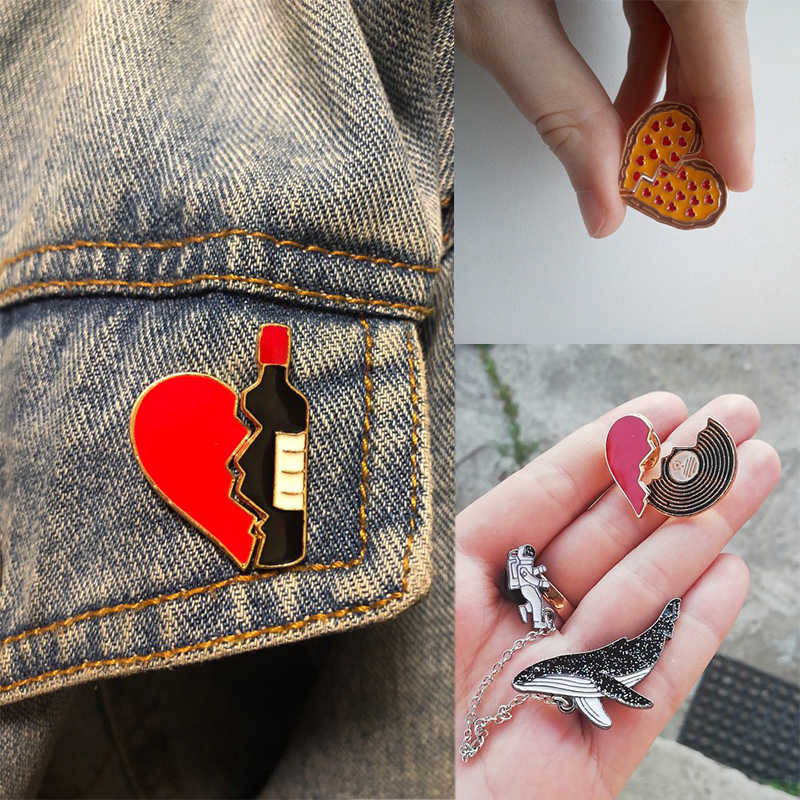 2pcs/set Creative Brocken Heart Wine Bottle Earth Cup Pizza Enamel Pins BEST BUDS/BOOS Brooch Collar Pin Badges Corsage Jewelry