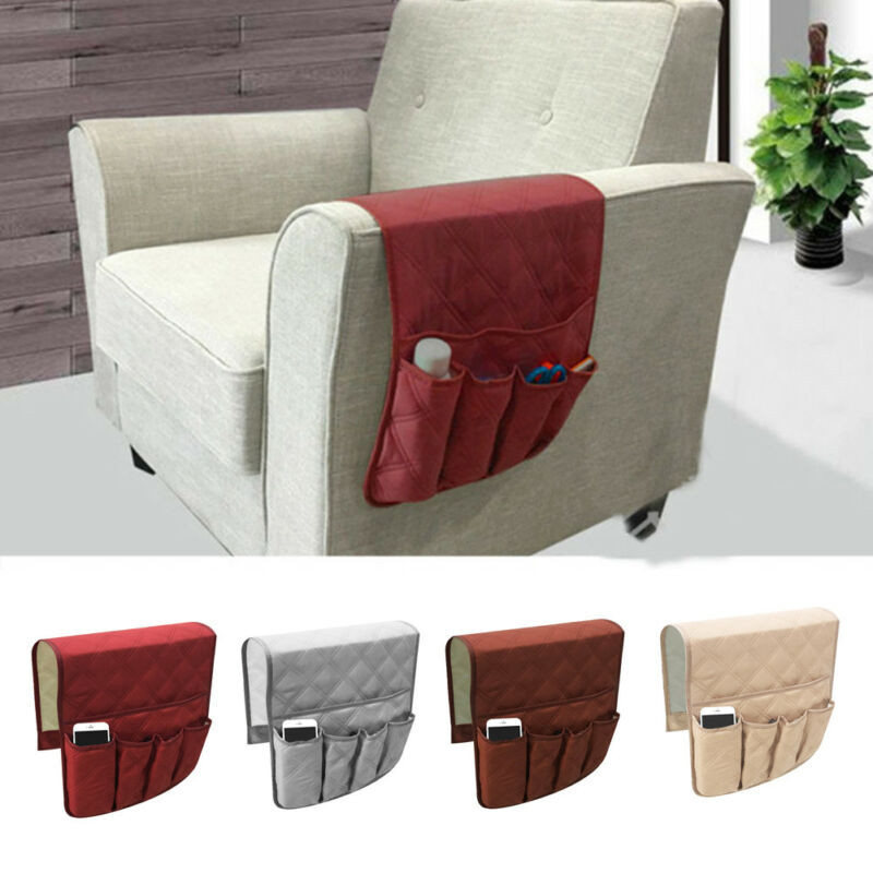 Sofa Organizer 5 Pocket Couch Arm Rest Remote Control Storage Holder Chair Pure
