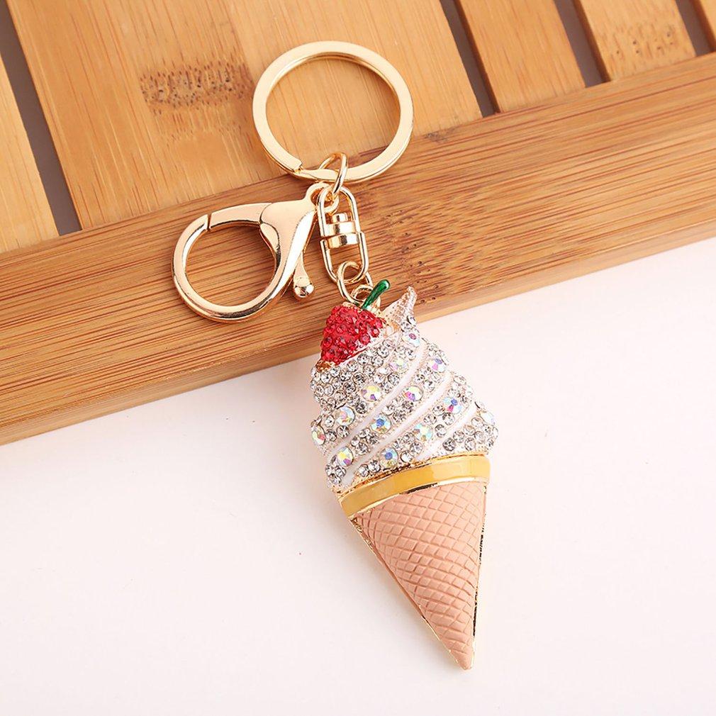 Ice Cream Cone Key Chain Hairball Key Ring Bag Car Hanging Decor Charm Drop Cute
