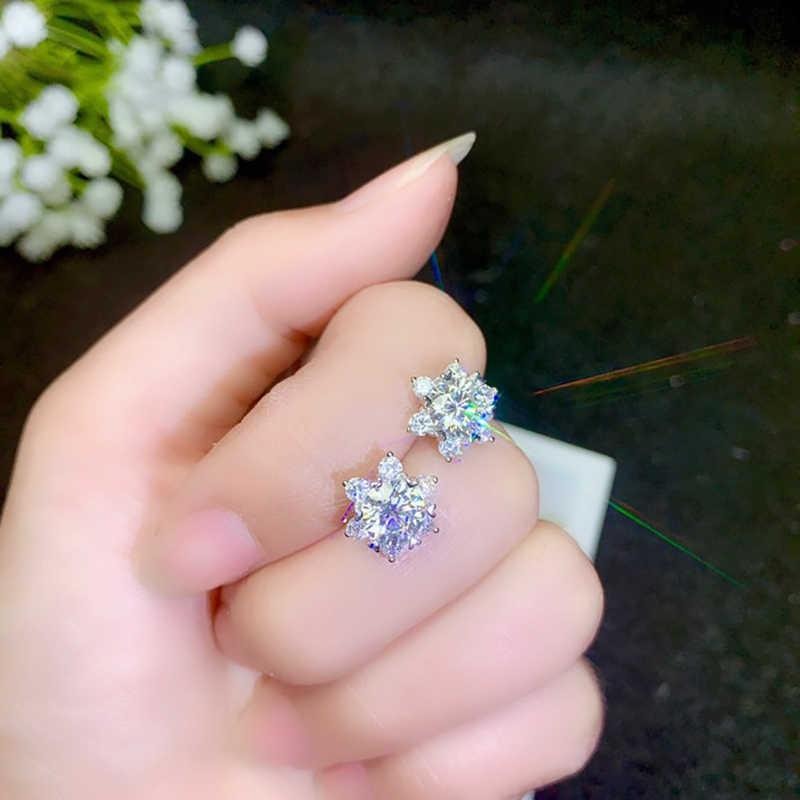 BOEYCJR 925 srebrny 0.5/1ct F kolor Moissanite VVS Fine Jewelry diament stadniny kolczyk z krajowego świadectwa dla kobiet prezent