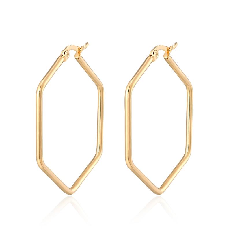 Punk Fashion Ear Jewelry Glossy Hexagon Large Hoop Earrings For Women Girl Large Geometric Exaggeration Loop earrings Trend Gift