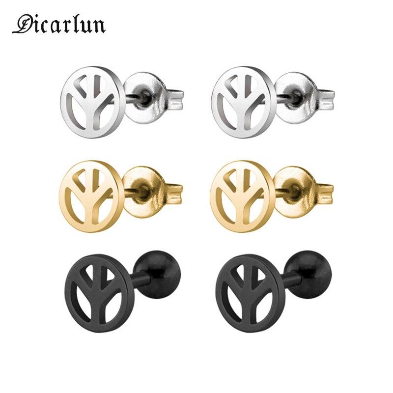 DICARLUN, знак мира, серьги, Золотая сталь, Черная Нержавеющая Сталь, ювелирные изделия для женщин, мужские сережки-гвоздики, символ мира, Антиво...