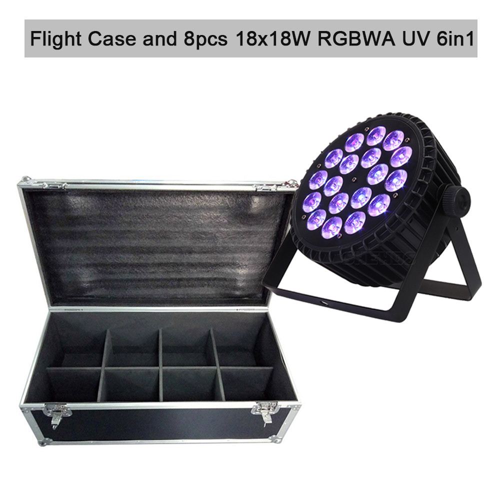 Flight Case With 8pcs 18x12W 4in1 Led Par Light 18x18W RGBWA UV 6in1 DMX Stage DJ Disco Led Spotlight Nightclub Bar Event Wash