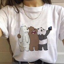 Camisetas femininas 2020 ursos desencapados engraçado imprimir topo feminino camiseta harajuku verão roupas casuais o pescoço senhoras tops camisas