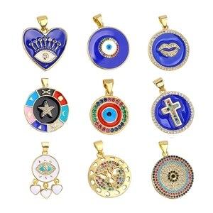 Juya DIY Enamel Charms Supplies Heart Round Shape Greek Evil Eye Charms For Jewelry Making Bracelets Necklace Earrings Handmade