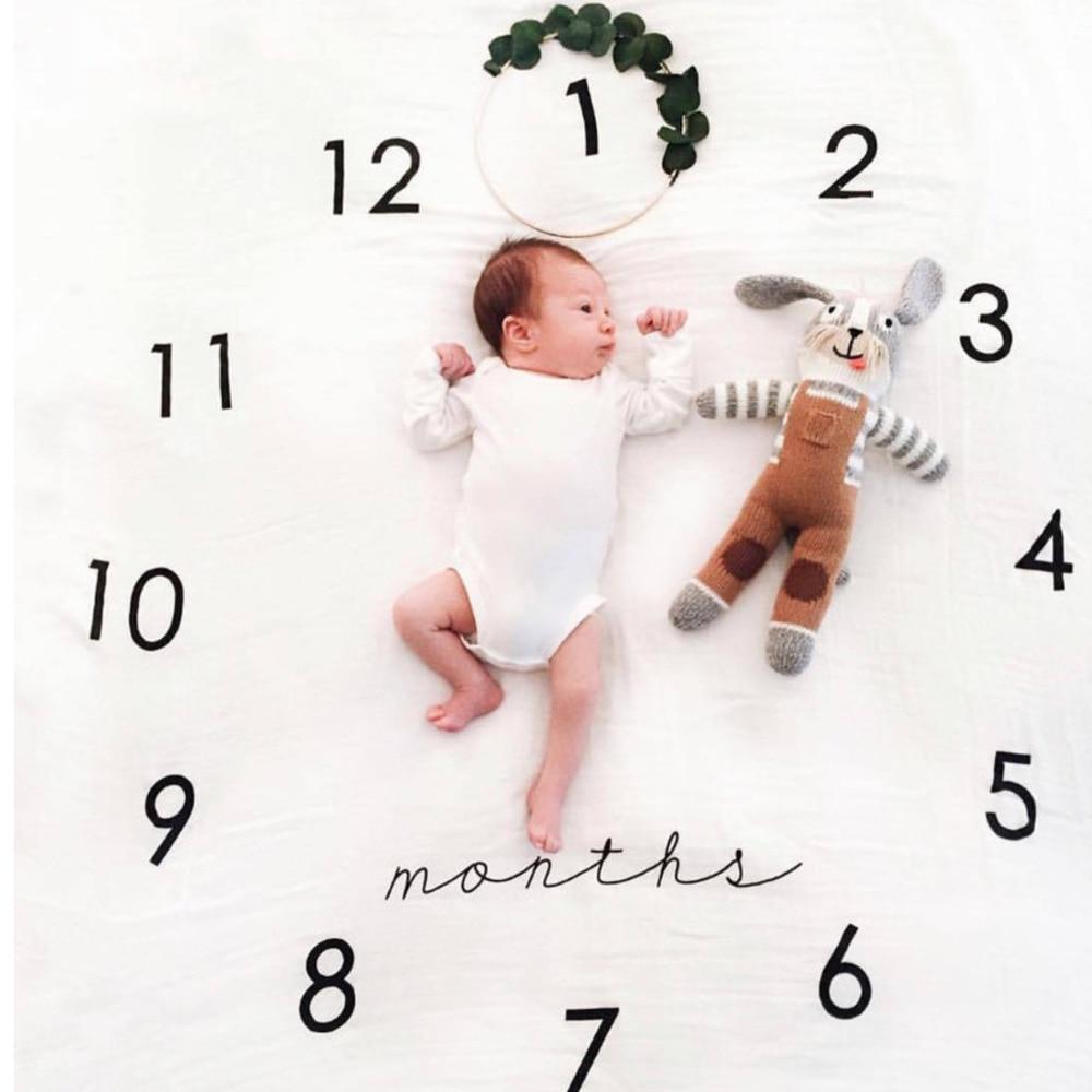 Neugeborenen Wachstum Milestone Decke Baby Fotografie Requisiten Hintergrund Cartoon Muster Spielen Matten Kalender Foto Zubehör Geschenk