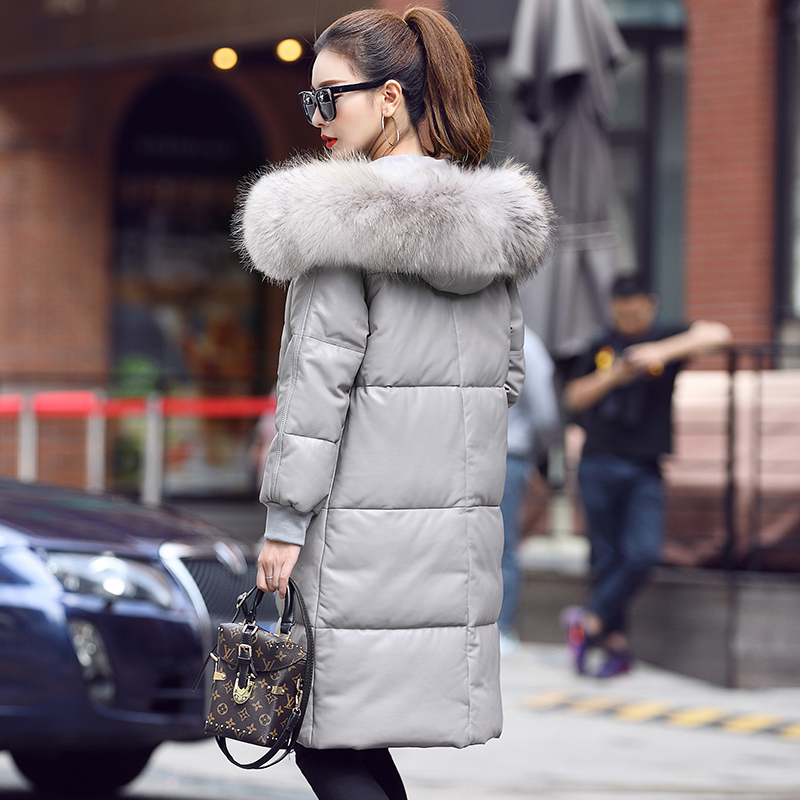 Winter Real Genuine Leather Jacket Women Long Sheepskin Coat Women's Down Jackets Raccoon Fur Collar Warm MF7212