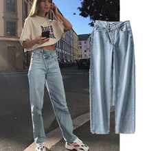 2019 fashion blogger high street vintage washed asymmetric waist mom jeans woman boyfriend for women