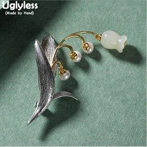 추악한 이중 용도 천연 옥 진주 릴리 오브 더 밸리 꽃 브로치 펜던트 NO Chains Real 925 Silver Leaves Pins Brooch