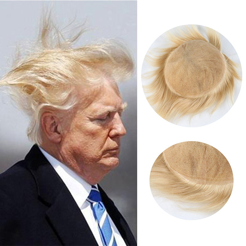 2020 New Donald Trump 613 Blonde Wig Men Toupee 100% Nutral Human Hair Swiss Full Lace Male Wig Protesis Hair Replacement System