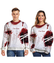 Halloween 3d digital sweater blood drop printing round neck pullover lovers