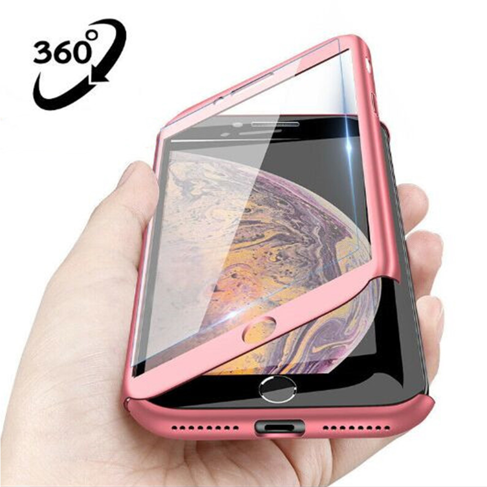 Luxury <font><b>360</b></font> Full Cover Phone Case For iPhone X XR XS MAX 6 <font><b>6s</b></font> 7 8 Plus With Tempered Glass Case Hard PC Shell Protective Cover image