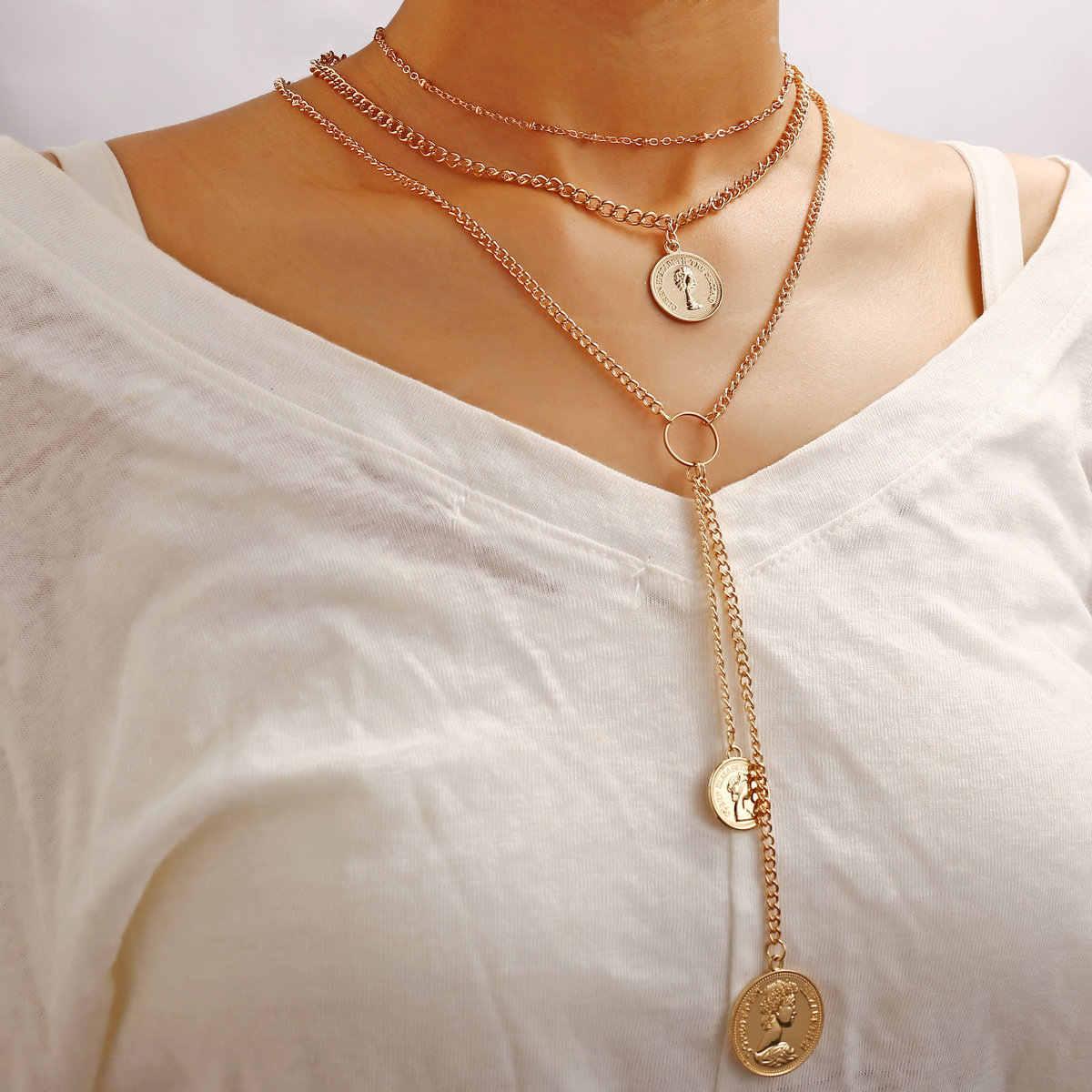 Europeu novo 3-camada cabeça selo longo colar retro moda simples wafer multi-camada colar feminino ins estilo