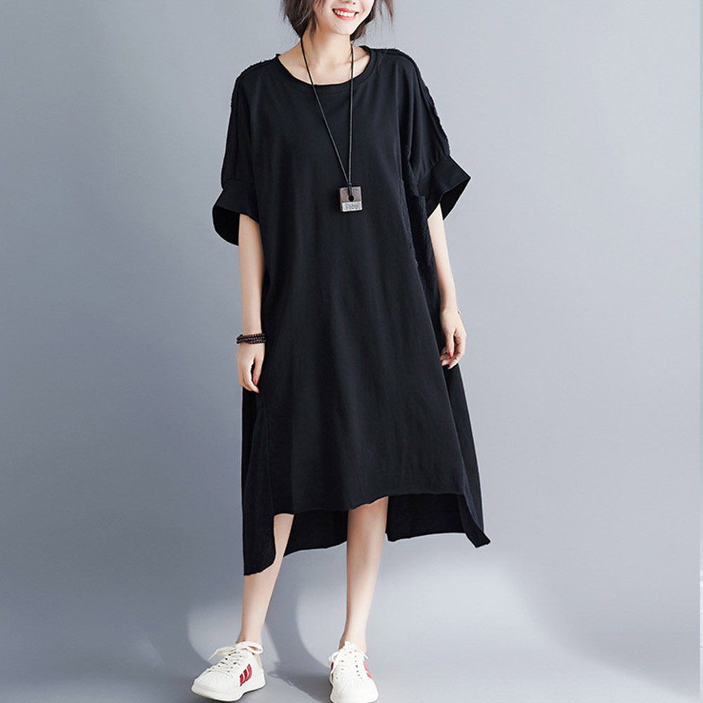 Supermiss Women Summer Cotton Dress Summer A-Line Sundress Hi Low Tunic Clothing Irregular Hem Baggy Oversized Tops With Pocket