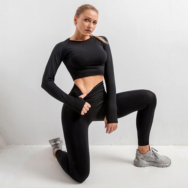 2/3/5PCS Seamless Women Yoga Set Workout Sportswear Gym Clothing Fitness Long Sleeve Crop Top High Waist Leggings Sports Suits 4