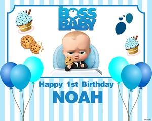 Image 2 - Sxy1580 Cartoon Fotostudio Achtergrond Ballonnen Blauwe Strepen Custom Boss Baby Achtergrond Jongens 1st Verjaardagsfeestje Banner 220x150cm