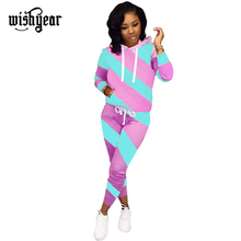 купить Wishyear Stripe Color Block Women Tracksuit Long Sleeve Hooded Sweatshirt Top+ Pencil Pants Fashion Casual Sporty Two Piece Set дешево