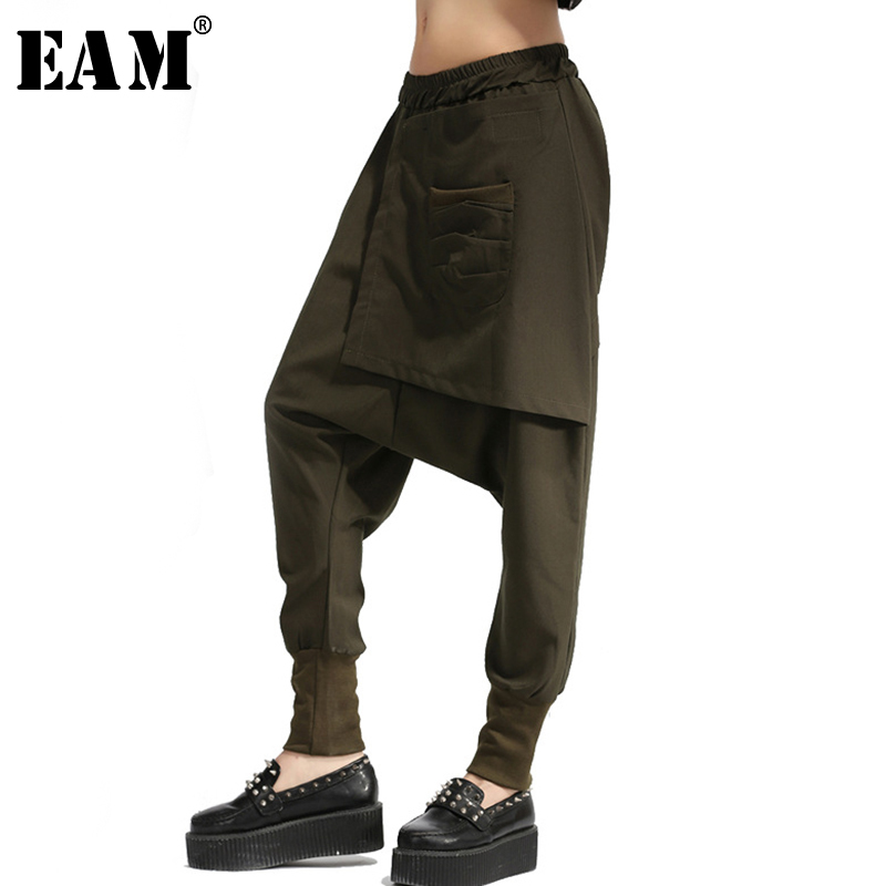[EAM] High Elastic Waist Army Green Split Joint Harem Trousers New Loose Fit Pants Women Fashion Tide Spring Autumn 2020 JH0300