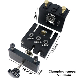 Image 3 - Woodworking Doweling Jig Kit With Clip Adjustable Hole Puncher Locator Drilling Guide For Furniture Connecting Carpentry Tools