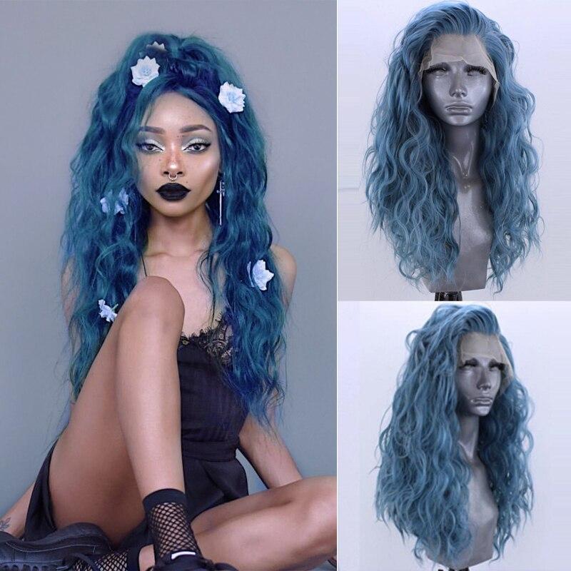 Charisma peruca de renda sintética, parte livre, verde, com cabelo sintético, resistente ao calor, ondulado, para mulheres