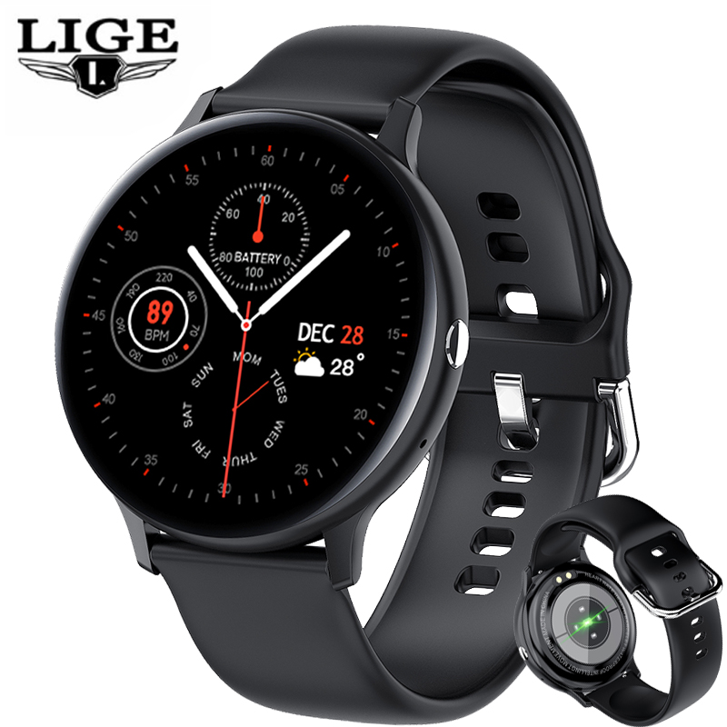 LIGE 2021 New Bussiness Smart Watch Men Music Playback Heart Rate Bluetooth Call Waterproof Sports Smartwatch For Android iOS