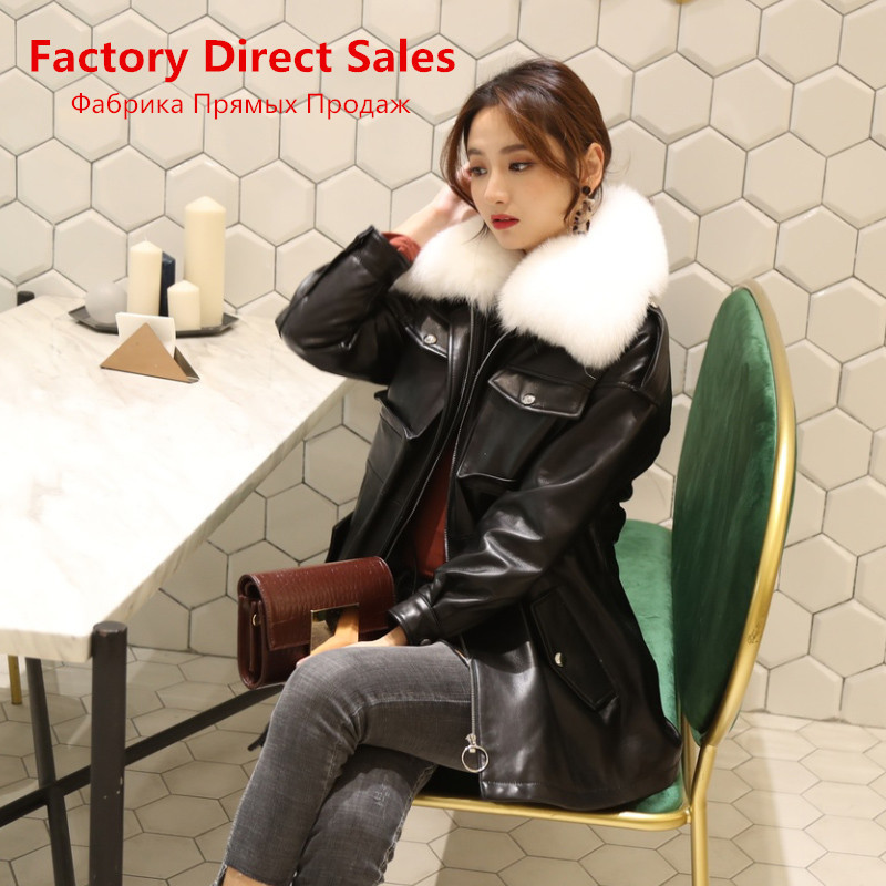 Sheepskin Real 100% Coat Female Fox Fur Collar Korean Down Jackets 2020 Winter Jacket Women Genuine Leather Jacket MY