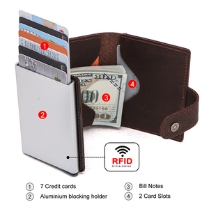 Image 4 - CONTACTS Crazy Horse Leather Card Holder Wallet Men Automatic Pop Up ID Card Case Male Coin Purse Aluminium Box RFID Blocking