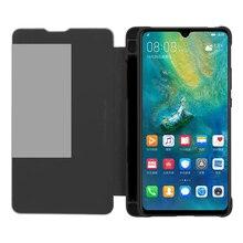 Flip Stand Telefoon Case Voor Huawei Mate 20 X / Mate 20X 5G Smart Telefoons Smart View Window Cover met Pen Houder Case