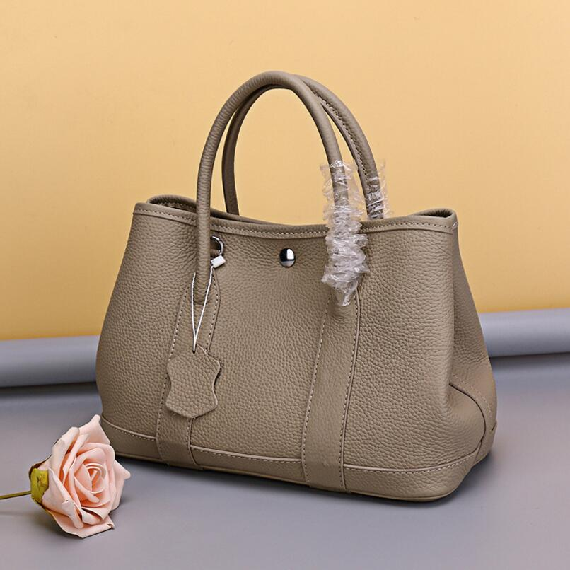 100% Genuine Cowhide Leather Luxury Handbag High Quality Designer Garden Party Tote Bag Women Famous Brand Tote