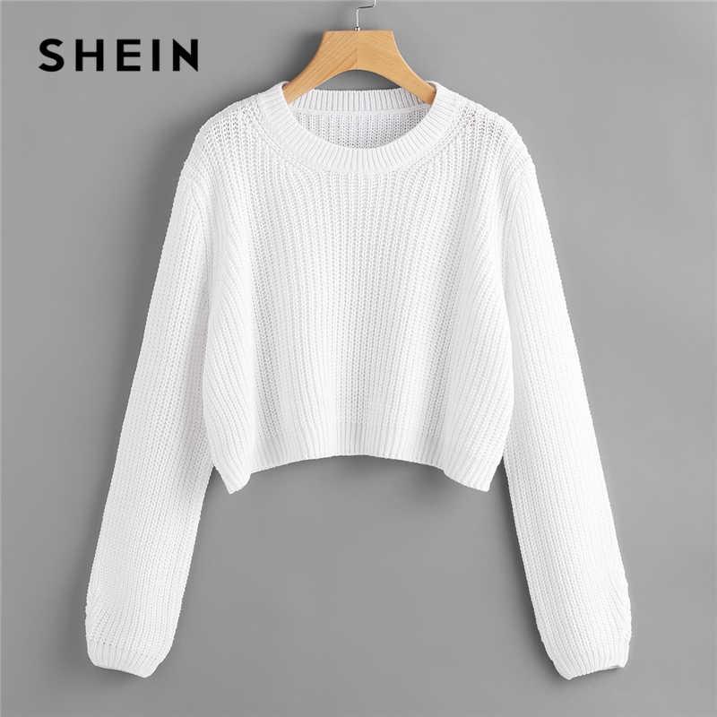 SHEIN Bianco Loose Fit Crop Maglione Pullover Solido Maglione Delle Donne Primavera Autunno Girocollo A Manica Lunga Maglioni casual