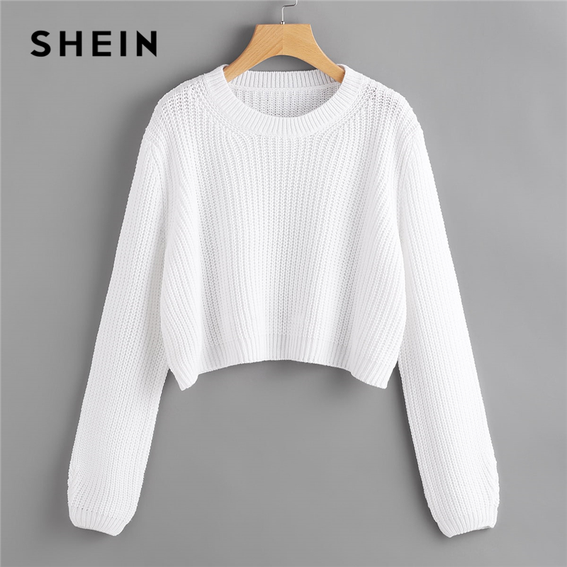 SHEIN White Loose Fit Crop Jumper Pullover Solid Sweater Women Spring Autumn Round Neck Long Sleeve Casual Sweaters