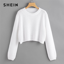 SHEIN White Loose Fit Crop Jumper Pullover Solid Sweater Women Spring Autumn Round Neck Long Sleeve Casual Sweaters(China)
