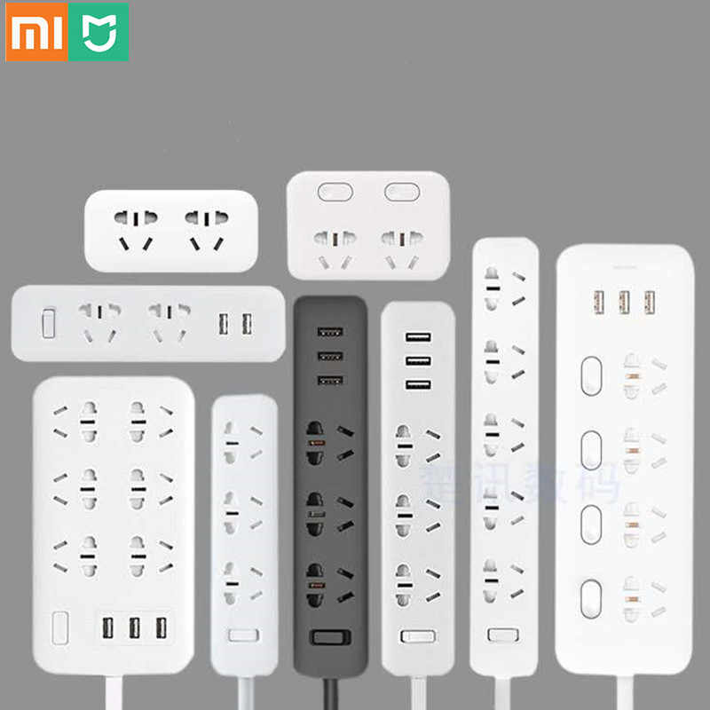 Xiaomi Mi Mijia Power Strip 2.1A Snel Opladen 3 Usb Extension Socket Plug 6 Outlets Socket Adapter Us Uk Eu au Mi Power Strip