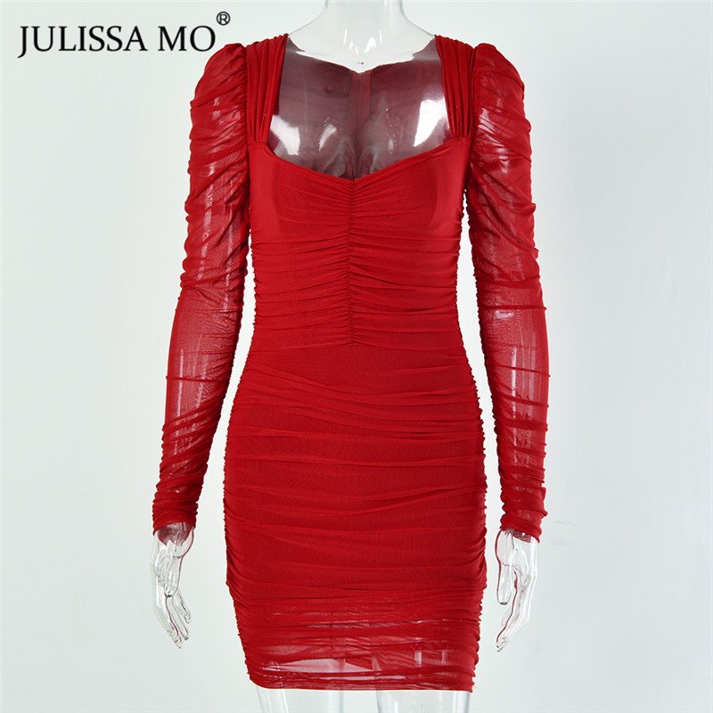 JULISSA MO mesh bodycon dress 2020 spring party dress (11)