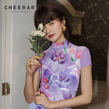 CHEERART Turtleneck Mesh 자르기 탑 여성 Tshirt 보라색 꽃 반팔 디자이너 T 셔츠 Summer Frilly Tight Top Clothing(China)