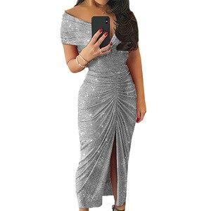 Image 5 - ルイジェイソンドレス女性パーティーナイトvestidoセクシーな肩倍分割裾ロングドレスローブフェムセクシーパーティードレスropaのmujer sukienki