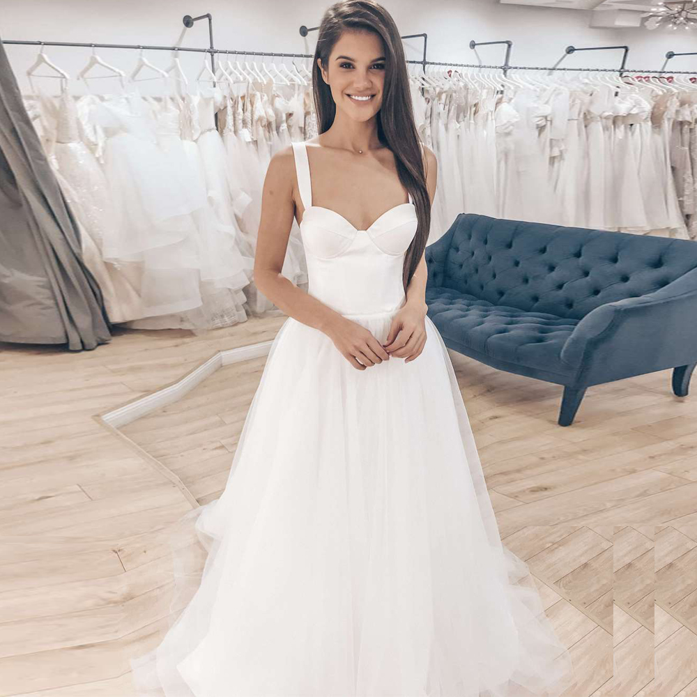 ADLN 2020 Simple Wedding Dresses Sweetheart Sleeveless Satin Draped Tulle Bridal Gown Backless Robe De Mariee