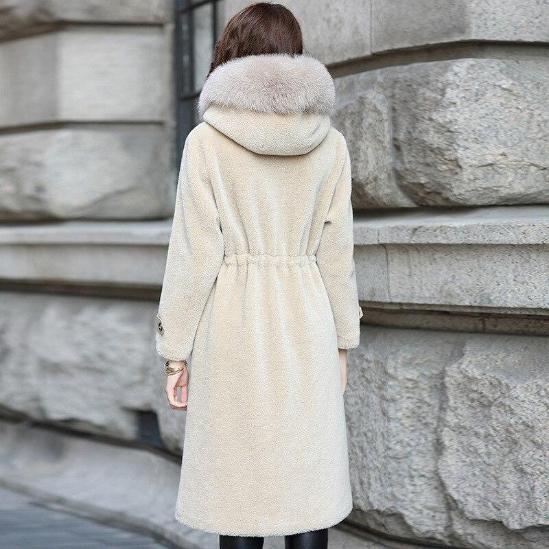 Designer Shearling Sheep Fur Coat Female Office Ladies Elegant Fox Fur Trim Hooded Long Overcoat Winter Covered Button Jacket