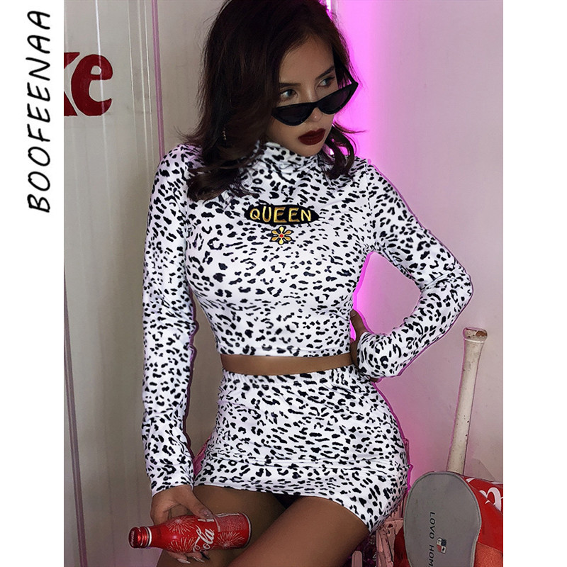 BOOFEENAA Sexy Two Piece Set White Leopard Print High Neck Long Sleeve Crop Top And Skirt Matching Sets Club Outfits C98-AE14