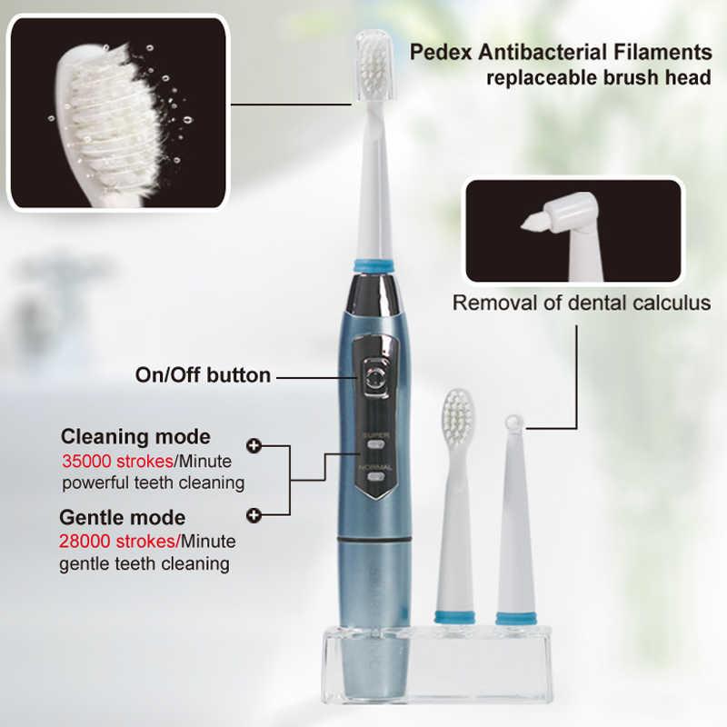 SEAGO elektryczna szczoteczka do zębów Sonic dla dorosłych szczoteczka do zębów uchwyt z 3 wymienne główki do szczoteczki wodoodporna inteligentny czas SG910 prezent