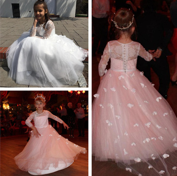 Kids 3/4 Sleeve Flower Girl Dresses Crew Neck Top Lace Princess Prom Gown Butterfly Floor Length Toddler For Wedding Party Gowns