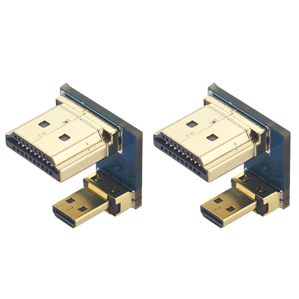 2PCS Metal Accessories Converter Durable Small Adapter Connect Tools Plug Practical HDMI To HDMI For Raspberry Pi 4B Micro