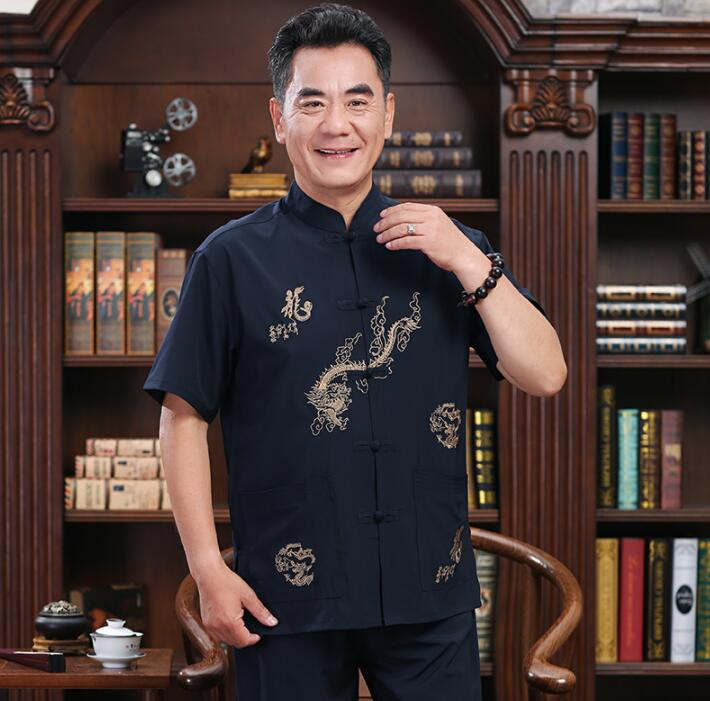 Middle-aged Tang Suit Men Buckle Blazer Short Sleeve Summer Silk Jaqueta Masculina Coats Mens Jacket Chinese Style