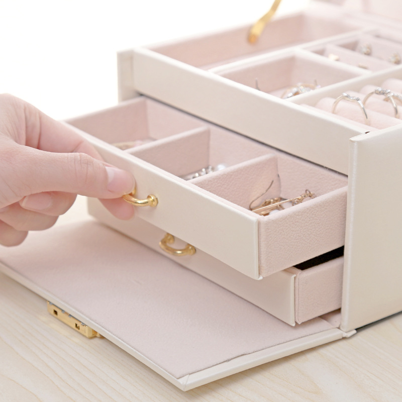 Three Layers 2019 Classical High Quality Leather Jewelry Box Jewelry Exquisite Makeup Case Jewelry Organizer Fashion Gift Box