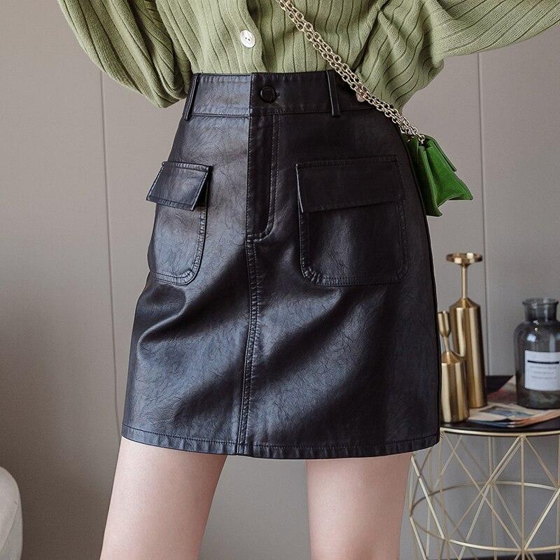 Cool Streetwear Black Skirt Women All-match Solid Color Pockets Pu Leather Skirt Winter Autumn Korean Fashion A Line Skirts Mini